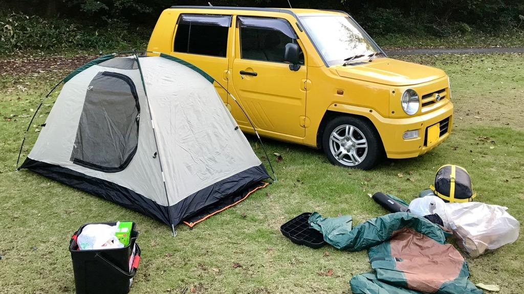 車中泊のメリット・良いところ:テントが無くても宿泊できる、設営・撤収の手間が少ない